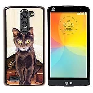 Arte del gato largo Bigotes Pintura de Brown- Metal de aluminio y de plástico duro Caja del teléfono - Negro - LG L Prime / L Prime Dual Chip D337