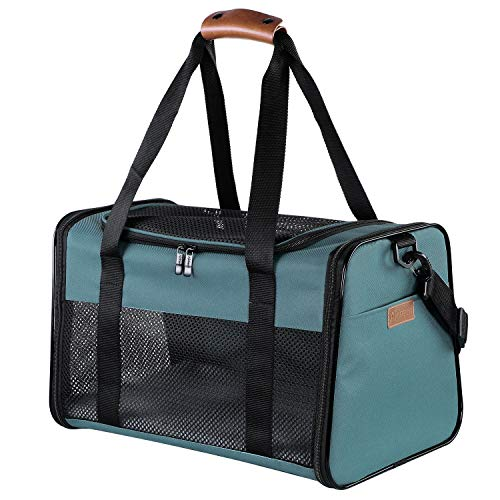 Akinerri Airline Approved Pet Carriers,Soft Sided Collapsible Pet Travel Carrier for Medium Puppy and Cats (Large, Blue)