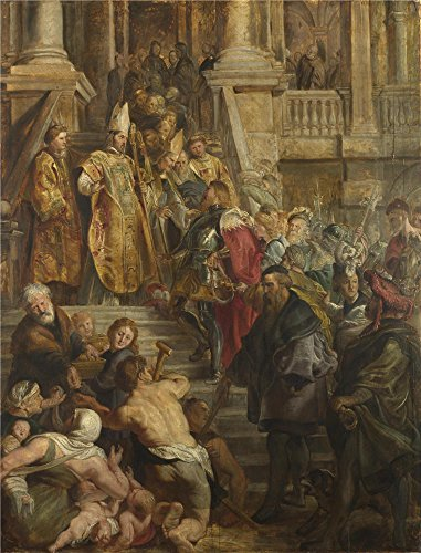 Oil Painting Peter Paul Rubens Saint Bavo Is Received By Saints Amand And Floribert  12 X 16 Inch   30 X 40 Cm   On High Definition Hd Canvas Prints  Basement  Dining Room And Study Room Decoration