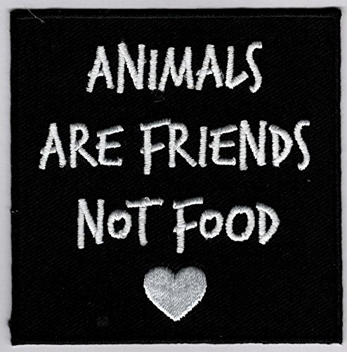 Animals are Friends Not Food Embroidered Iron-On Patch - 3x3 inch from PatrioticPatch