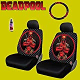 New Design 6 Pieces Marvel Comic Deadpool Car Seat Covers and Steering Wheel Cover Set with Travel Size Purple Slice