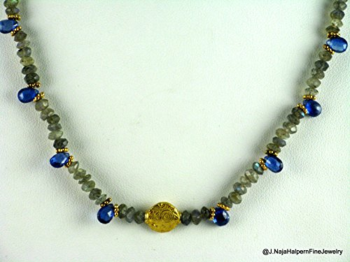 Sapphire and 18K Gold Necklace with faceted Labradorite gemstones 18 inches