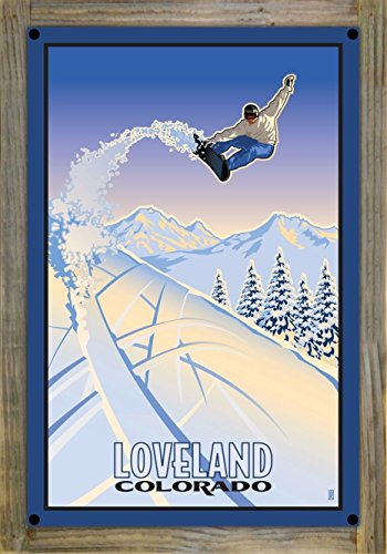 Loveland Colorado Snowboarder Metal Print on Reclaimed Barn Wood by Paul Leighton (12