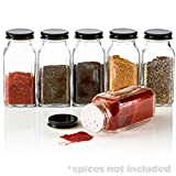 6 Large Square Glass Spice Bottles 6 oz Jars with Black Metal Lids, Shaker Tops by SpiceLuxe