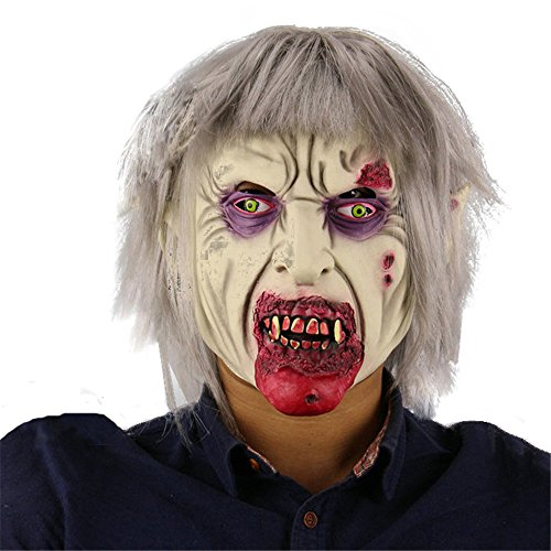Halloween Natural Latex Face Mask Wigs Silver Hair Vampire Zombie Party (Zombie Masks Cheap)
