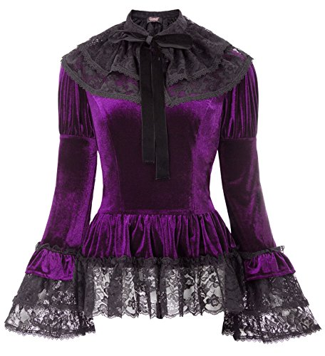 Lady Lace Up Gothic Blouse Vampire Corset Jersey Top for Halloween SL25-2 Purple L
