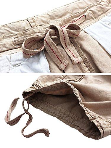 WenVen Men's Active Cargo Shorts Cotton Outdoor Wear Lightweight (WV3229 Light Khaki,36)