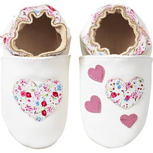 Tichoups chaussons bébé cuir souple blanche le coeur