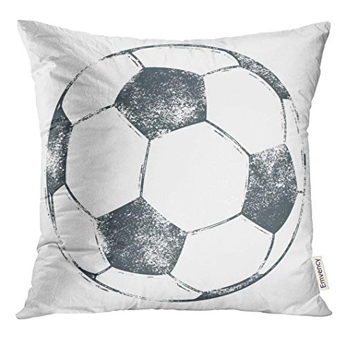 UPOOS Throw Pillow Cover Stamp Soccer Ball Football in Grungy Letterpress Look Vintage Retro Decorative Pillow Case Home Decor Square 18x18 Inches Pillowcase