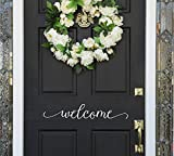 Front Door Welcome Door Decal - Front Door Vinyl Sticker -Wall Decal - 23'' wide X 4'' high White