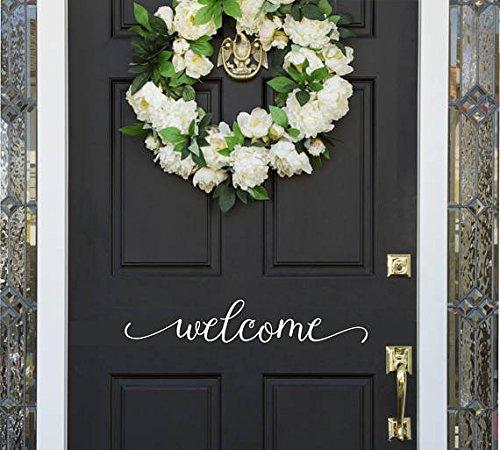 Front Door Welcome Door Decal - Front Door Vinyl Sticker -Wall Decal - 23'' wide X 4'' high White by Alphabet Garden