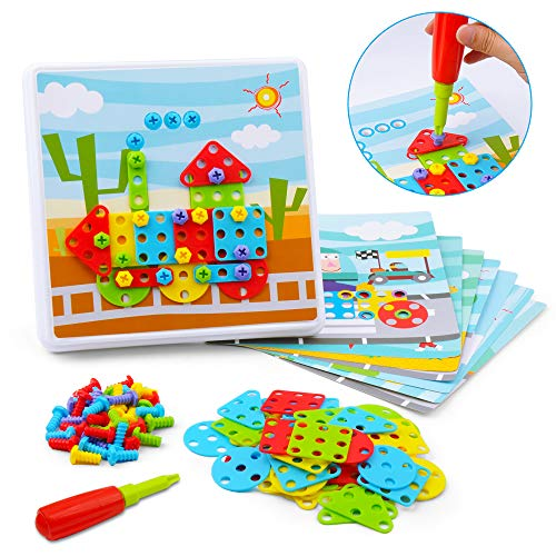 Gizmovine Shape Puzzles Toy for Toddler, Fine Motor Skills Toys Amosting Color Matching Mosaic pegboard Early Learning, Preschool Educational STEM Toys for Boys Girls, Brain Training Games for Kids