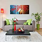 Winpeak Art Huge Hand-Painted Abstract Oil Painting Modern Plum Blossom Artwork Floral Canvas Wall Art Hangings Stretched and Framed