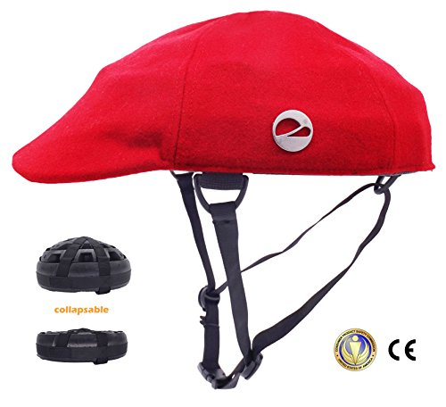 Closca Turtle Foldable,Removable,Washable Helmet,City Leisure Commuting Mountain Cycling Winter Helmet (Red, (Four Becoming Winter Hats)
