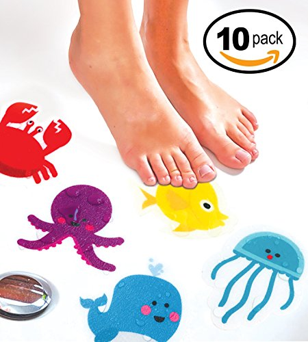 Bath Creature (Curious Columbus Non-Slip Bathtub Stickers by Pack of 10 Large Sea Creature Decal Treads. Best Adhesive Safety Anti-Slip Appliques for Bath Tub and Shower Surfaces)
