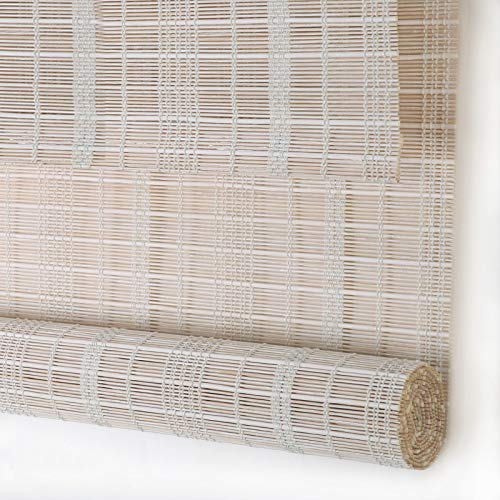PASSENGER PIGEON Bamboo Roller Shades, Light Filtering Roll Up Blinds with Valance, 26