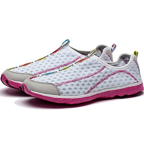 KENSBUY Womens Fashion Slip-On Mesh Shoes,Athletic,Beach Aqua,Wading Shoes Pink-white