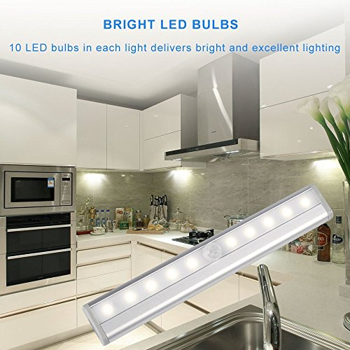 Motion Sensor Closet Lights RUOYIER Portable Wireless 10-LED Stick-on anywhere Cabinet motion sensing light with Magnetic Strip for Wardrobe Stairs Step Night Light Bar(Battery Operated 3-pack) by Ruoyier (Image #4)'