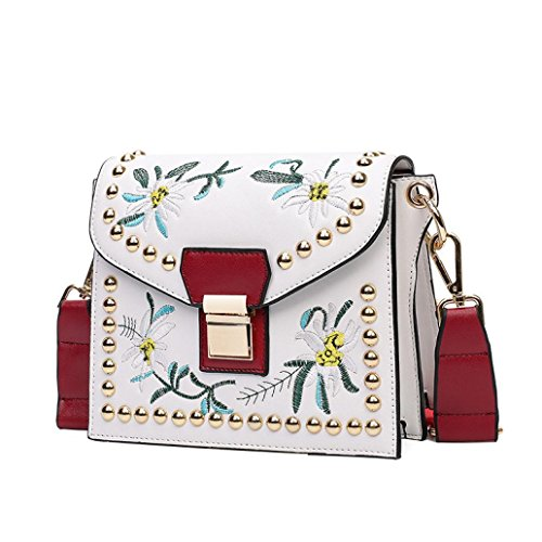 Bags,AIMTOPPY Embroidered party bag fashion mini handbag embroidery ethnic style shoulder Messenger bag (White, free)