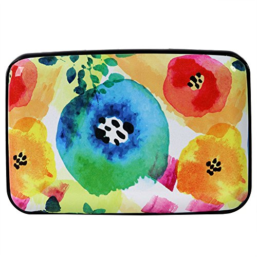 - Kaabao Aluminum Wallet RFID Blocking Slim Metal Credit Card Holder Hard Case (Abstract Watercolor Flowers)