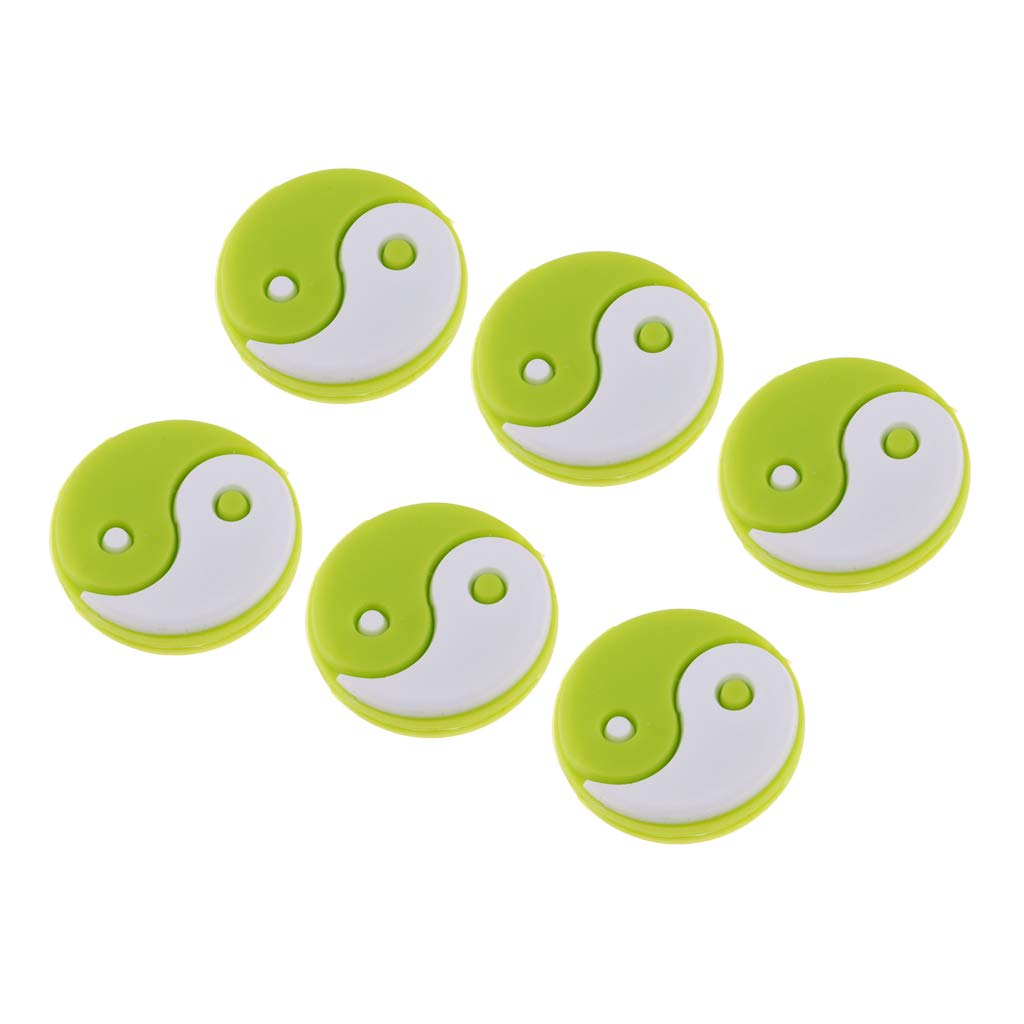 LEIPUPA 6 Pack Sports Tennis Vibration Dampener Yin Yang Design Silicone Tennis Shock Absorber Replacement for Strings