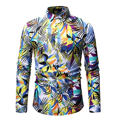 (Shirts for Men Men Printing Buttons Stand Collar Collar Fit Slim Long Sleeve Blouse Shirt Tee Hipster Hip hopcasual 3D Print Yoga)