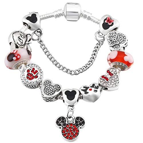 (Jewelry Making Chains- A Variety of Design Charm Bracelet with Mickey Enamel Beads WomenΧld Glass Fine Bracelet Fit Women Jewelry )