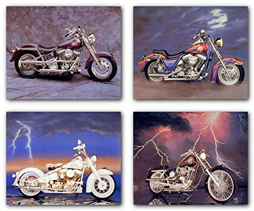 Vintage Harley Davidson Four Set 8x10 Motorcycle Picture Wall Decor Art Print Posters