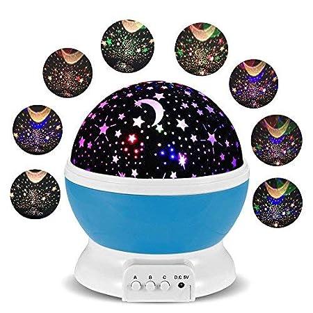 Lámparas Infantiles Lámpara de Proyector Estrella Luces navidad 360 Grados de rotación LED Romántica Lámpara de Noche para niños, Bebés, Regalos de ...