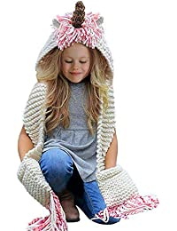 Crochet Unicorn Winter Hat with Scarf Pocket Knitted Hood...