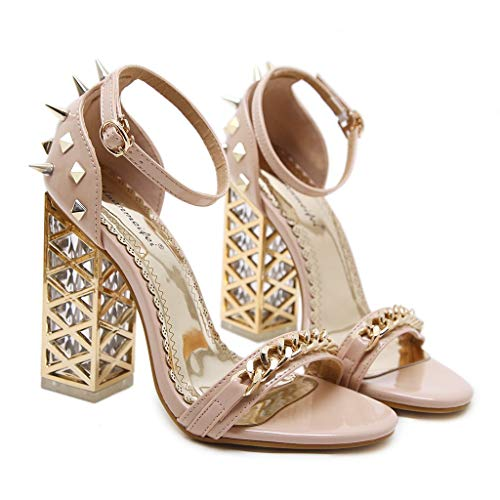 Women's Chunky Heel Sandals,Ladies Summer Ankle Straps High-Heels Open Toe Sandal by Sunskyi (Image #5)