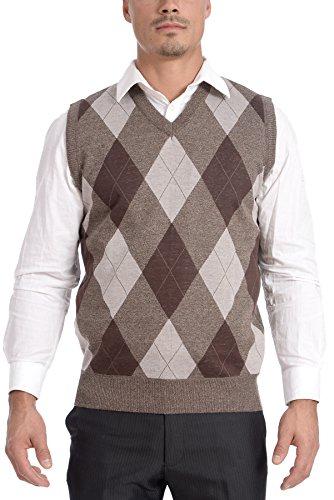 - TR Fashion Men's Soft Stretch Argyle V-Neck Casual Pullover Vest (Burgundy, Large)