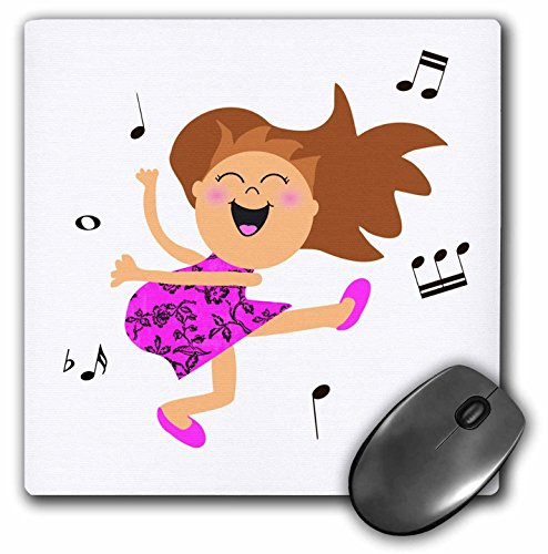 3dRose 8 x 8 x 0.25 Inches Mouse Pad, Cute Dancing Girl Cartoon in Hot Pink Dress (mp_120300_1) ()