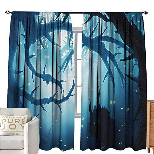 bybyhome MysticPrinted curtainAnimal with Burning Eyes in The Dark Forest at Night Horror Halloween IllustrationEnvironmental Protection W72 xL108 Navy -