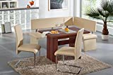 Breakfast Nook - Beige 4 Piece Corner Dining Set - Enjoy the Best Kitchen Table Furniture Loaded with a Luxury Bench Seat and Cushions - Nook Seating with Bench Chair Sets Kreta - Best Guarantee