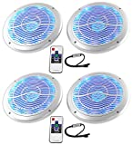 (4) Rockville RMC65LS 6.5'' 1200w Silver Marine Speakers/Multi Color LED+Remote