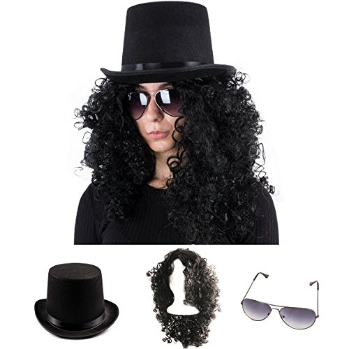 (Tigerdoe Rockstar Costume - 80s Costumes for Men - Heavy Metal Wig - (3 Pc Set) (Black Wig, Top Hat,)