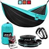 Double Camping Hammock with Adjustable Tree Straps & Aluminum Carabiners – Cozy Bed in the Nature – Two People or Single Person – Portable Parachute Nylon Hammock – Easy to Set Up and Take Down For Sale