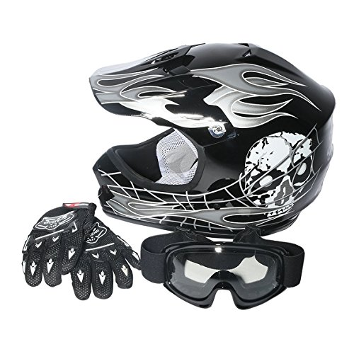 - TCMT Tengchang DOT Youth Kids ATV Motocross Dirt Bike Black Skull Helmet w/Goggles+Gloves(M)