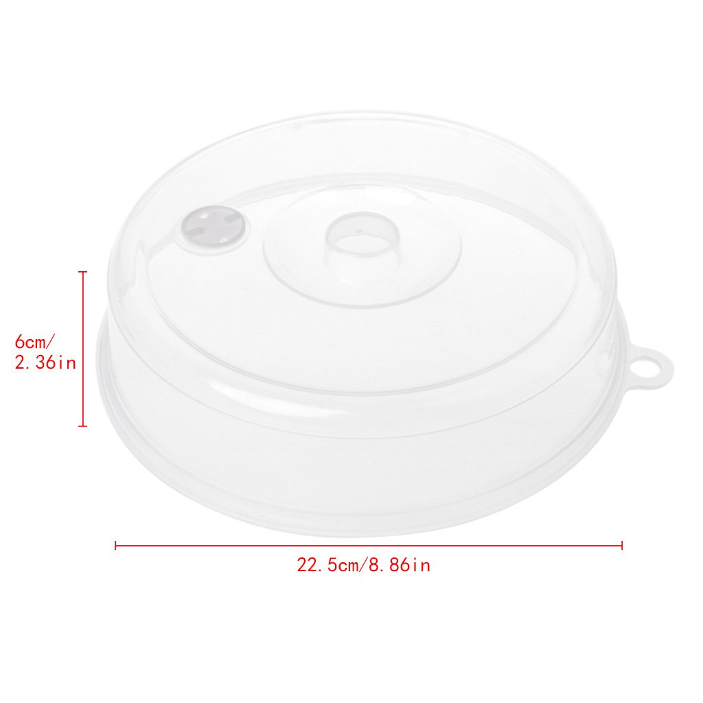 Milue Plastic Microwave Plate Cover Clear Steam Vent Splatter Lid Food Dish Kitchen Tools (L)