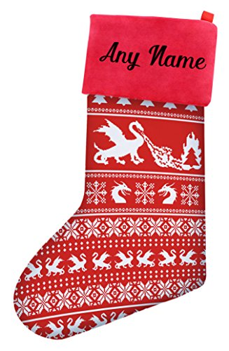 Funny Christmas Stockings Dragons Ugly Christmas Sweater Themed Pattern Christmas Stockings Secret Santa Nerdy Gifts Christmas Stocking Red