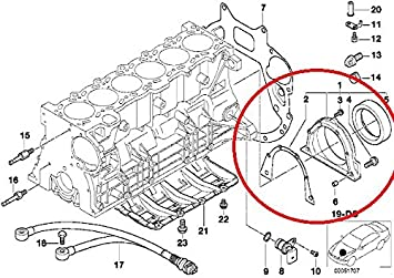 2000 bmw e46 engine diagram amazon com genuine bmw e46 325i 330i rear crankshaft cover with  genuine bmw e46 325i 330i rear