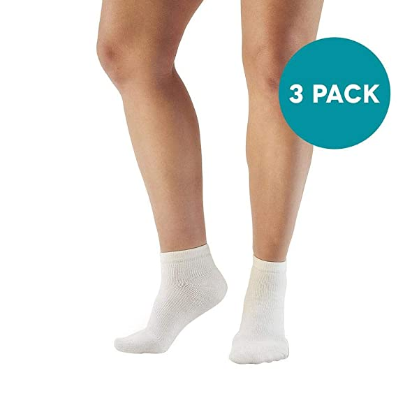 Ames Walker AW Style 140 Coolmax 20 30 mmHg Firm Compression Anklet Socks (3 Pack) White X Large Relieves Tired Aching and Swollen Legs Symptoms of varicose Veins Keeps feet Dry and Comfortable (Color: White, Tamaño: X-Large)