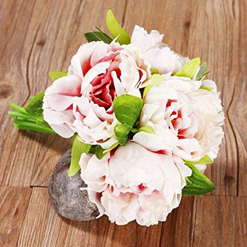 MARJON Flowers1 Bouquet 5 Heads Bridal Artificial Fake Peony Flower Wedding Party Decor (Light Pink) (Leaf Primrose Five Light)