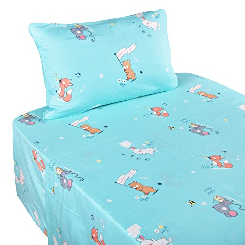 J-pinno Girls Boys Forest Animals Music Party Double Layer Muslin Cotton Bed Sheet Set Twin, Flat Sheet & Fitted Sheet & Pillowcase Natural Hypoallergenic Bedding Set (10, Twin) by J-pinno