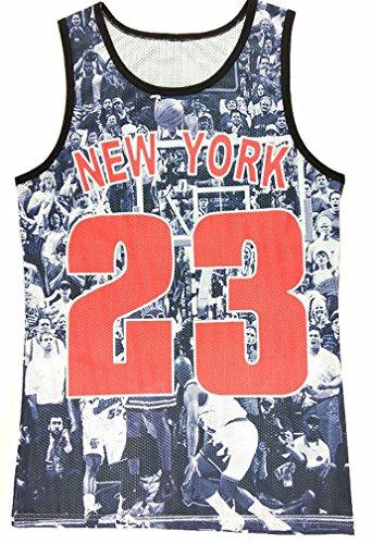 YCMI Hip Hop Men's New York 33 Rose Flower Gym Tank Tops Undershirt Basketball Jerseys