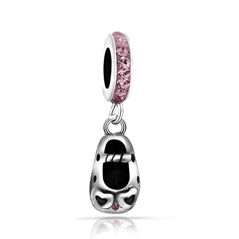 Everbling rosa corazón bebé zapato Dangle Charm 925?plata de ley Bead compatible con Pandora Pulsera gBerKeF5WP