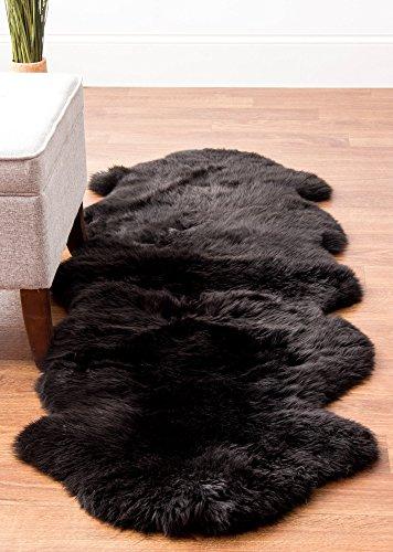Genuine Australian Black Sheepskin Rug Two Pelt Fur Rug, Double