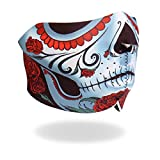 Sugar Skull Calavera Neoprene Motorcycle Half Face Mask - Biker Gear