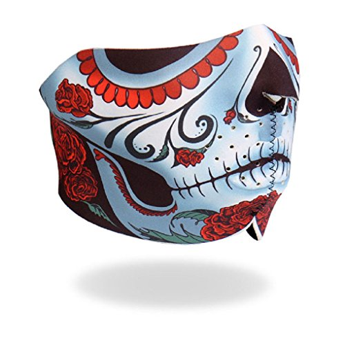 Sugar Skull Calavera Neoprene Motorcycle Half Face Mask - Biker Gear by Faerynicethings